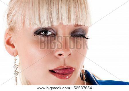 beautiful sexy woman licking lips