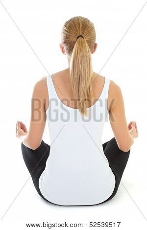 Blondie Woman Doing Yoga Isolated Over White