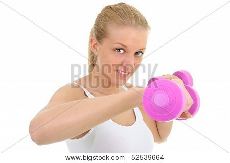 Young Blondie Woman With Dumbbell