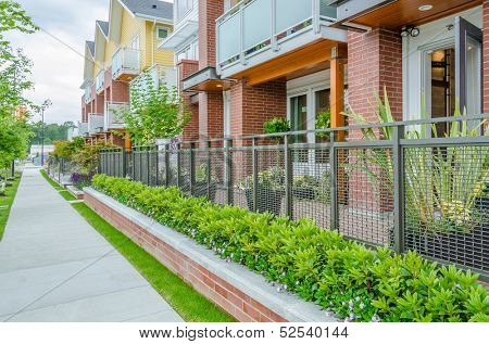A perfect neighborhood. apartments in suburb at Spring in the north America