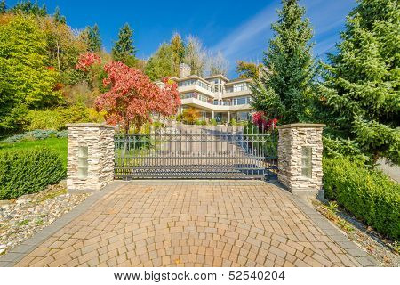 Luxury iron gate to the entrance of a house in Vancouver, Canada.