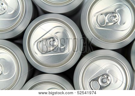 Aluminum drink cans, top view .