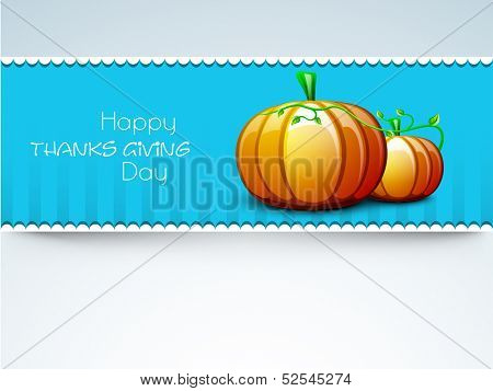 Stylish Happy Thanksgiving Day greeting card with pumpkins and green leaves on blue background.