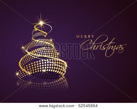 Beautiful spiral golden Xmas Tree on purple background for Merry Christmas celebration background.