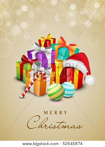Beautiful Merry Christmas celebration background with gift boxes, Xmas balls and cane.