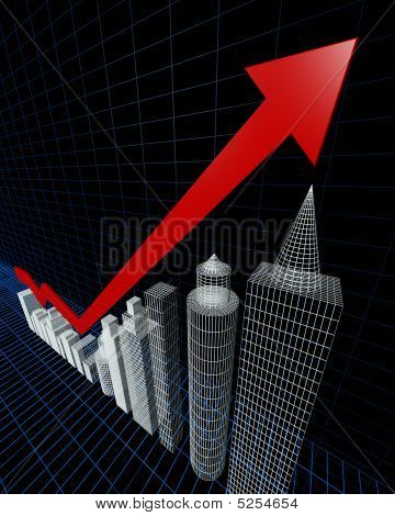 Property Valuation Chart Arrow Pointing Up To The Tallest Building