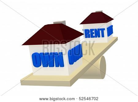 Own or Rent on balance scale concept