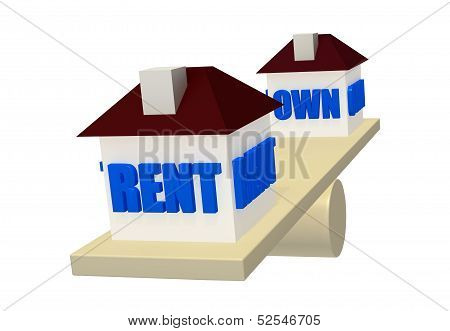Rent or Own on balance scale concept
