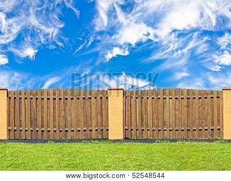 Traditional Brown Pine Wooden Fence