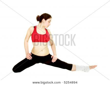 Fitness Girl In Action Over White