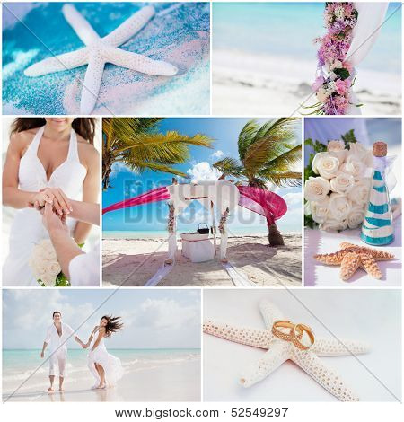 wedding ceremony when on the beach, collage