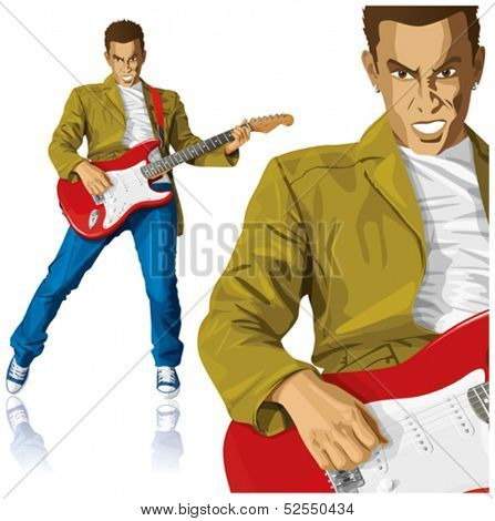 Vector punk man with the guitar. All layers well organized and easy to edit