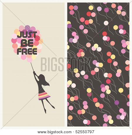 Little Girl Flying Away On Balloons. Motivational Text Idiom Just Be Free.