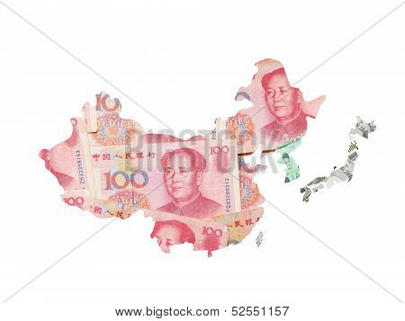 Asia Map Made By Asian Currency