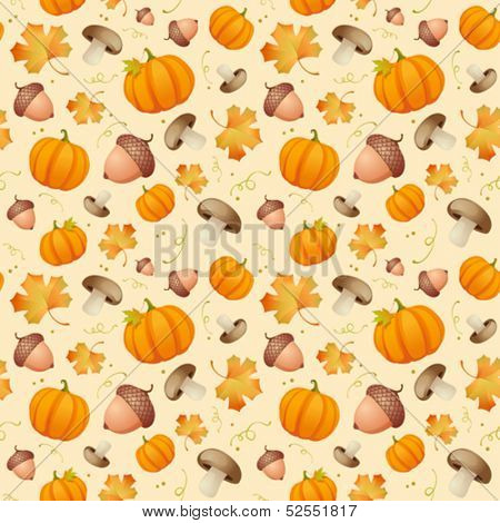 Autumn seamless background with leaves, acorns and pumpkins.