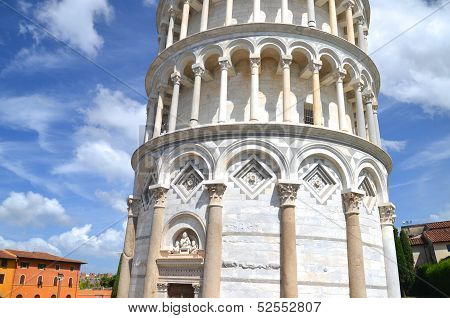 The famous Leaning Tower in Pisa in Italy