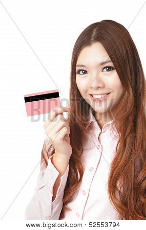 Woman Smile And Take Credit Card