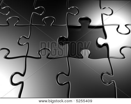 Missing Piece Silver Jigsaw Puzzle Concept