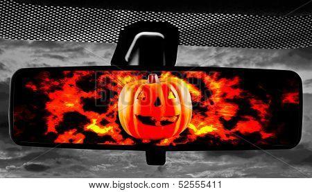 Jack-o-lantern In Rearviewmirror