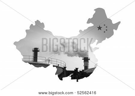 China Map made by pollution smokestack For environment issue