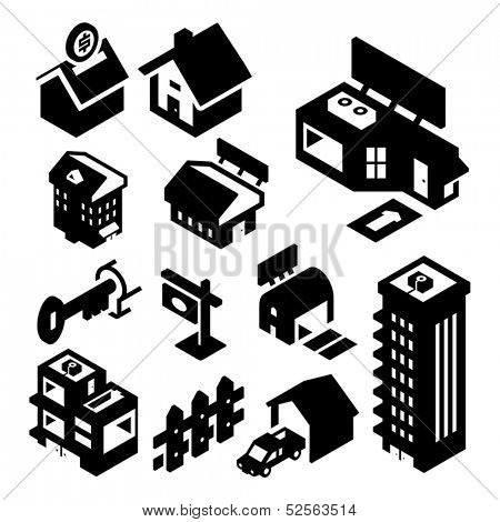 Real Estate Icons Isometric