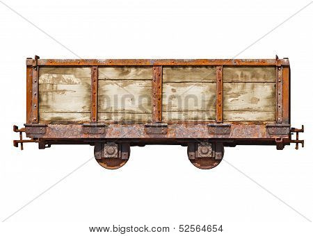 Vintage Car For The Narrow-gauge Railway On White Background