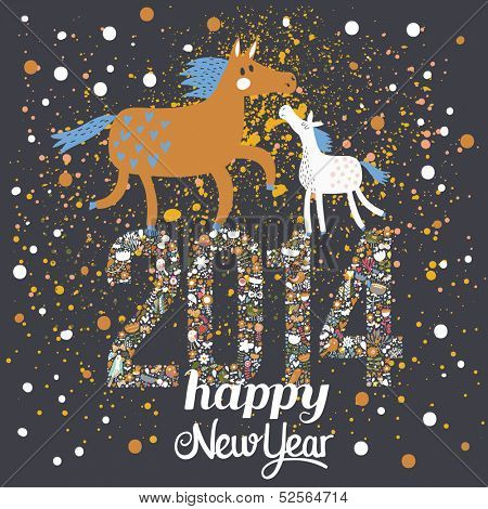 Happy New 2014 Year card in stylish modern colors. Year of the horse - concept holiday background in vector. Horse with a foal on 2014 sign made of flowers