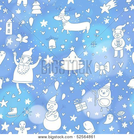 Stylish seamless pattern with Christmas elements: santa claus, snowman, tree, gingerbread man, dachshund, penguin, bell, stars, hearts. Happy 2014 New Year vector background with bokeh effect in blue