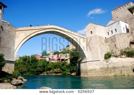 The Old Bridge Over The Neretva River, Mostar, Bosnia-herzegovina
