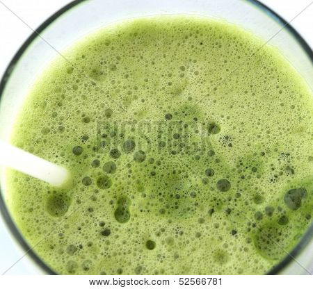 Green Vegetable Juice In The Glass