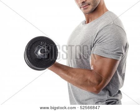 Portrait of a muscular man lifting weights, isolated over a white background