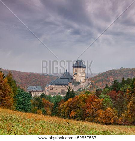 Autumn Scenery With Karlstejn Castle