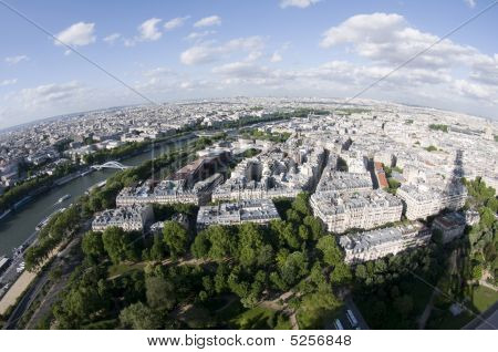 Bird's Eye View Of Paris France And The Seine River