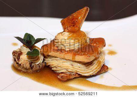 Delicious desert on white plate