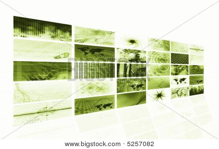 Green Futuristic Media Abstract Background