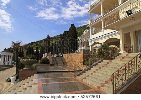 Summer Resort Villa With Steps In Scenary Garden