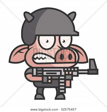 Pig soldier holding machine gun