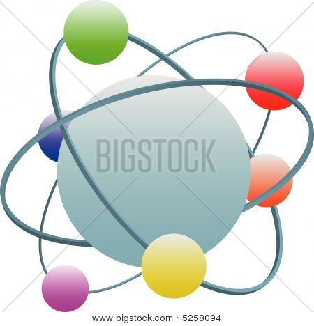 Abstract Technology Atom Symbol With Colorful Electrons In Orbits