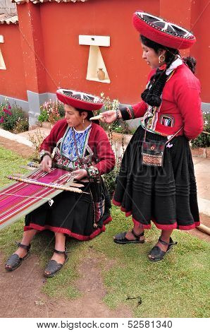Women show process of production of the clothes.