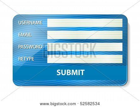 Registration form on credit card.