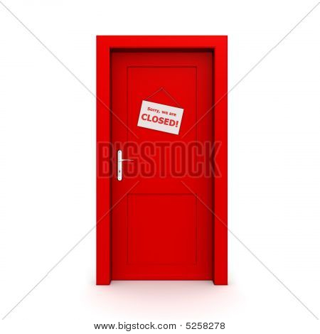Closed Red Door With Door Sign