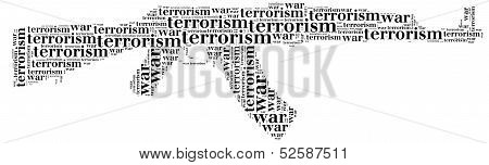 Tag Or Word Cloud War Or Terrorism Related In Shape Of Ak-47