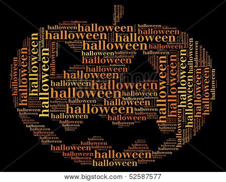 Tag Or Word Cloud Halloween Related In Shape Of Pumpkin