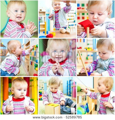 Little 11-month-old girl at school early development. A collage of photos