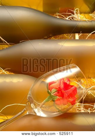 Wine Bottles & Rose