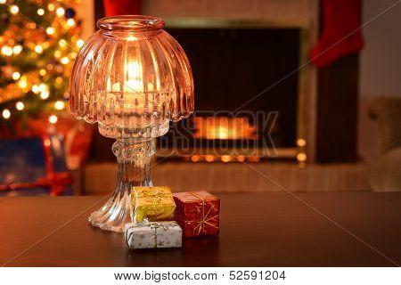 antique christmas lamp