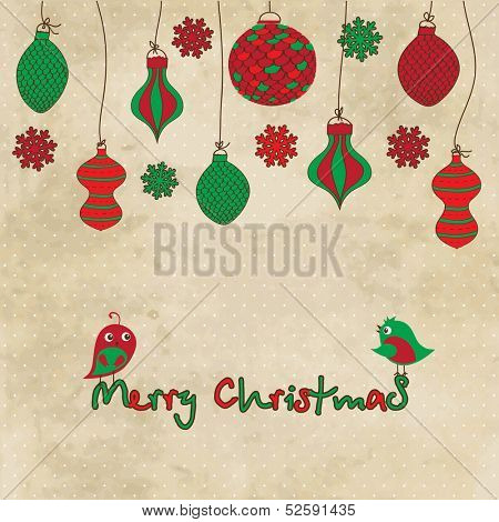 Vector  card with Christmas  balls and toys on vintage background