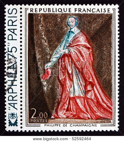 Postage Stamp France 1974 Cardinal Richelieu, By Philippe De Champaigne