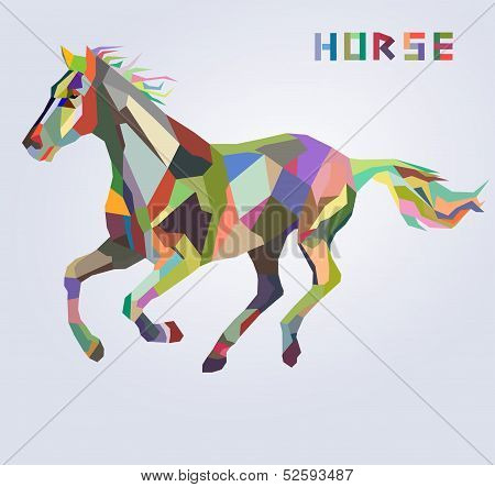 Horse symbol of New Year 2014 trendy hipster style vector