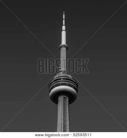 CN Tower in black and white